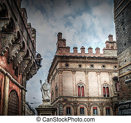 Historic buildings in downtown Bologna, Italy