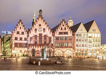 Historic buildings in Frankfurt Main at night