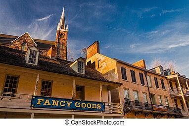 Historic buildings in Harper's Ferry, West Virginia. -...