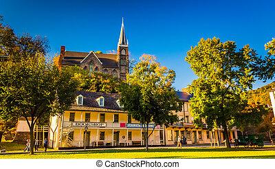 Historic buildings in Harpers Ferry, West Virginia. -...