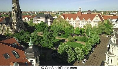 Historic buildings in Leipzig - Aerial view of historic...