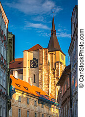 Historic buildings in the Old Town of Prague at sunset, Czech Re