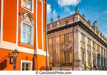 Historic buildings in the streets of Krakow, Poland.
