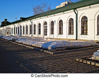 Historic buildings of Yekaterinburg Mint and mechanical factory in early spring