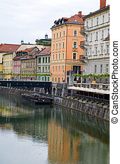 historic buildings old city on Ljubljanica River Ljubljana capital of Slovenia Europe