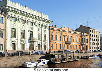 embankment of the Moyka River in Saint Petersburg, Russia