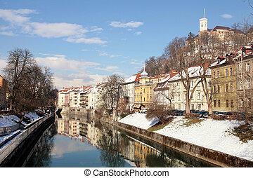 river embankment in Old town of Ljubljana , Slovenia -...