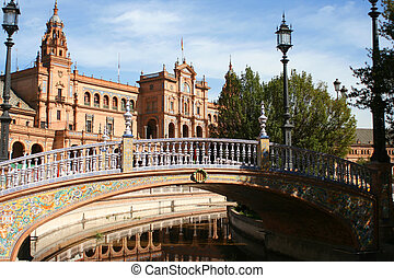 Historic buildings - Plaza de Espana in Seville, Spain