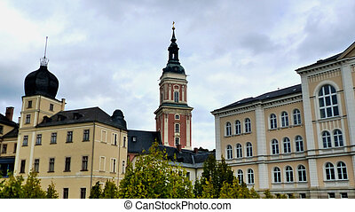 Historic buildings - View to the City Church and the Lower...