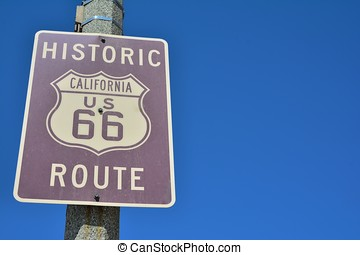 Historic California Route 66 road sign.