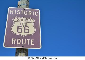 Historic California Route 66 road sign.