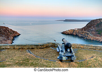 Signal Hill - Historic cannon at Signal Hill with boats...