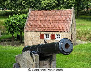 Historic canon in Dutch town