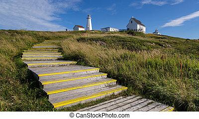 Historic Cape Spear lighthouse on a sunny day