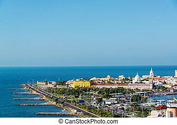 Historic Cartagena and Sea - Historic center of Cartagena,...