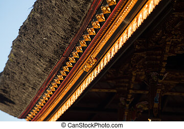 Historic carving at Pura Ulun Danu Bratan Water Temple Bali, Indonesia