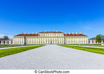 MUNICH, GERMANY - APR 20, 2015: panorama of the historic castle Schleissheim under blue sky in Munich, Germany. The history of the Palace started with a renaissance country house in 1598.