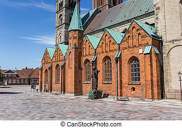 Historic cathedral at the central market square in Ribe