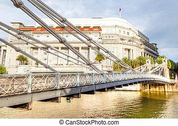 Historic Cavenagh Bridge Over Singapore River