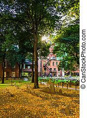 Historic cemetary in Boston, Massachusetts.