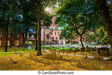 Historic cemetary in Boston, Massachusetts.