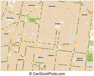 historic center of Mexico City vector street map