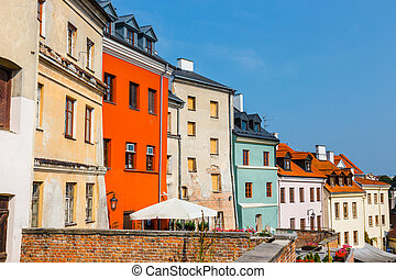 Historic center of the old town in Lublin, Poland.