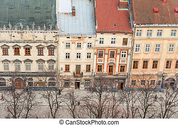 Historic central Lvov - Market Square and surrounding...