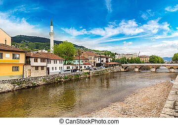 Historic centre of Sarajevo in a beautiful summer day,...