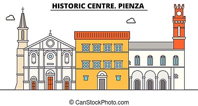 Historic Centre. Pienza line travel landmark, skyline,...