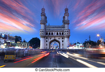 HYDERABAD, INDIA -AUGUST 29: Charminar in Hyderabad on August 29,2012, Is listed among the most recognized structures in India, Built in 1591.