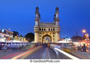 Historic Charminar - HYDERABAD,INDIA -AUGUST 29: Charminar...