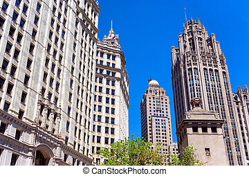 Beautiful blue sky and historic skyscrapers in downtown Chicago