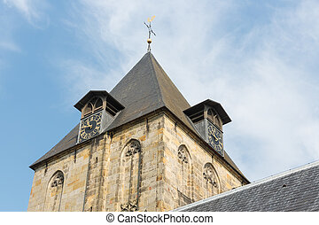 Historic Church tower of little village Delden in the Netherlands