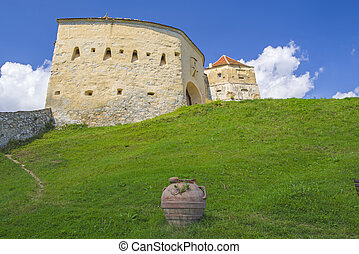 Historic citadel entrance, medieval fortress of Rasnov in ...