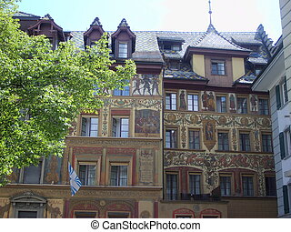 Historic city center of Lucerne with beautiful beaildings , Luzern, Switzerland