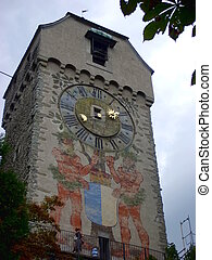 Historic city center of Lucerne with beautiful tower , Luzern, Switzerland