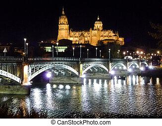 Historic city of Salamanca at night, Castilla y Leon, Spain
