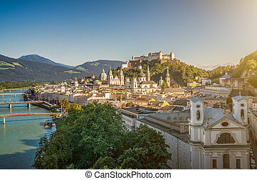 Historic city of Salzburg with famous fortress, Austria -...