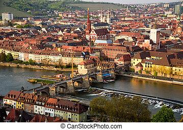 Historic city of Wurzburg with bridge Alte Mainbrucke, Germany.