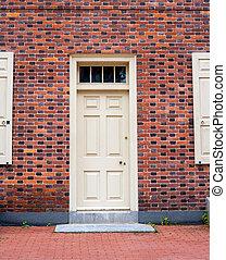 Historic colonial door on a brick building in Pennsylvania