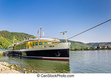 Historic cruise ship on the river Rhine in Boppard