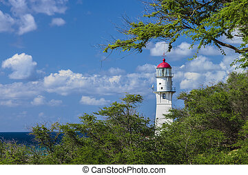 Historic Diamond Head Lighthouse on the south shore of Oahu, Hawaii