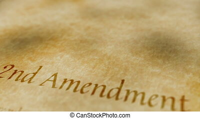 Scrolling text on an old paper background of the contents of the 2nd amendment to the United States Constitution that states the right of citizens to bear arms.