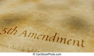 Scrolling text on an old paper background of the contents of the 5th amendment to the United States Constitution that protects citizens against unfair treatment in legal processes.