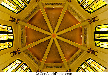 Dome of the historic Vista House in the Columbia River Gorge in Oregon
