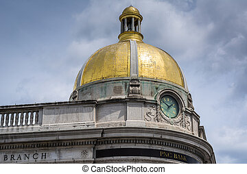 Historic dome of the Farmers and Mechanics Bank in Georgetown, Washington, DC.