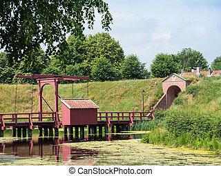 Historic drawbridge at Dutch town