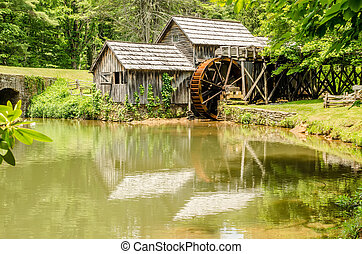 Historic Edwin B. Mabry Grist Mill (Mabry Mill) in rural Virgini