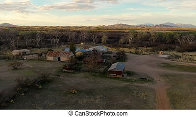 Historic Empire Ranch In Sonoita, Arizona, USA, drone panning shot in 4k